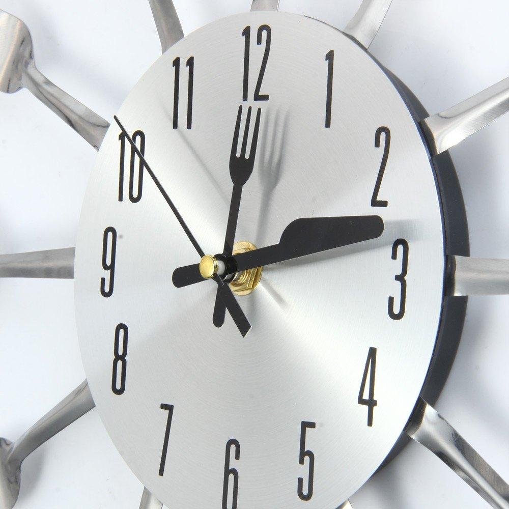 3d wall clock stainless steel knife fork modern design large kitchen wall watch clocks quartz for home office decorin wall clocks from home u0026 garden on