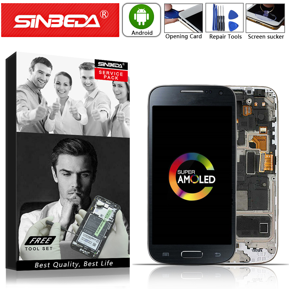 "4.3""Sinbeda AMOLED For SAMSUNG Galaxy S4 Mini LCD Touch Screen With Frame Digitizer For SAMSUNG S4 Mini Display I9192 I9190 LCD@"