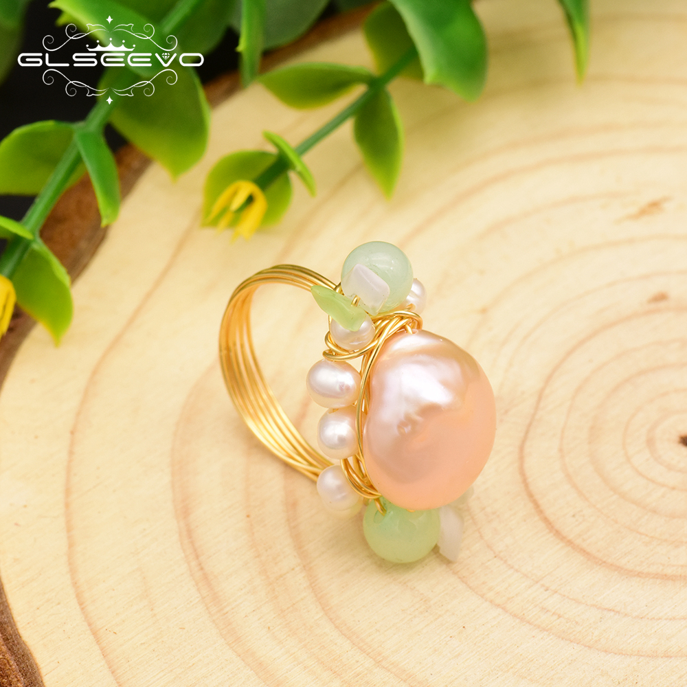 GLSEEVO Handmade Original Natural Pink Baroque Pearl Green Stone Ring For Women Wedding Engagement Fine Jewelry GR0233 in Rings from Jewelry Accessories