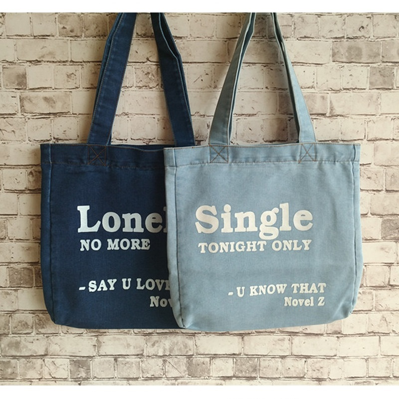 Letter Print Women Denim Bag Solid Canvas Casual Tote Shoulder Bags Female Jean Fabric Per Cowboy Top Handle Bolsa In From