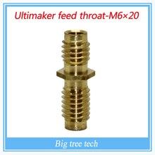 Медь M6 * 20 ММ Насадка Горло для Reprap Hotend Ultimaker 3 мм 3D Принтер