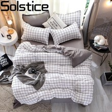 Solstice High-quality White Classic Plaid Kids Adult Bedding Comforter Sets Flat Bed Sheet Duvet Cover Pillowcase Suit