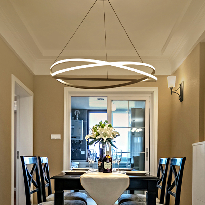 Free Shipping AC85-265V Dining Room Bar Shop Deco Modern Led Chandelier White Color suspension luminaire Hanging Chandelier free shipping modern dining table designs discount lamp shades