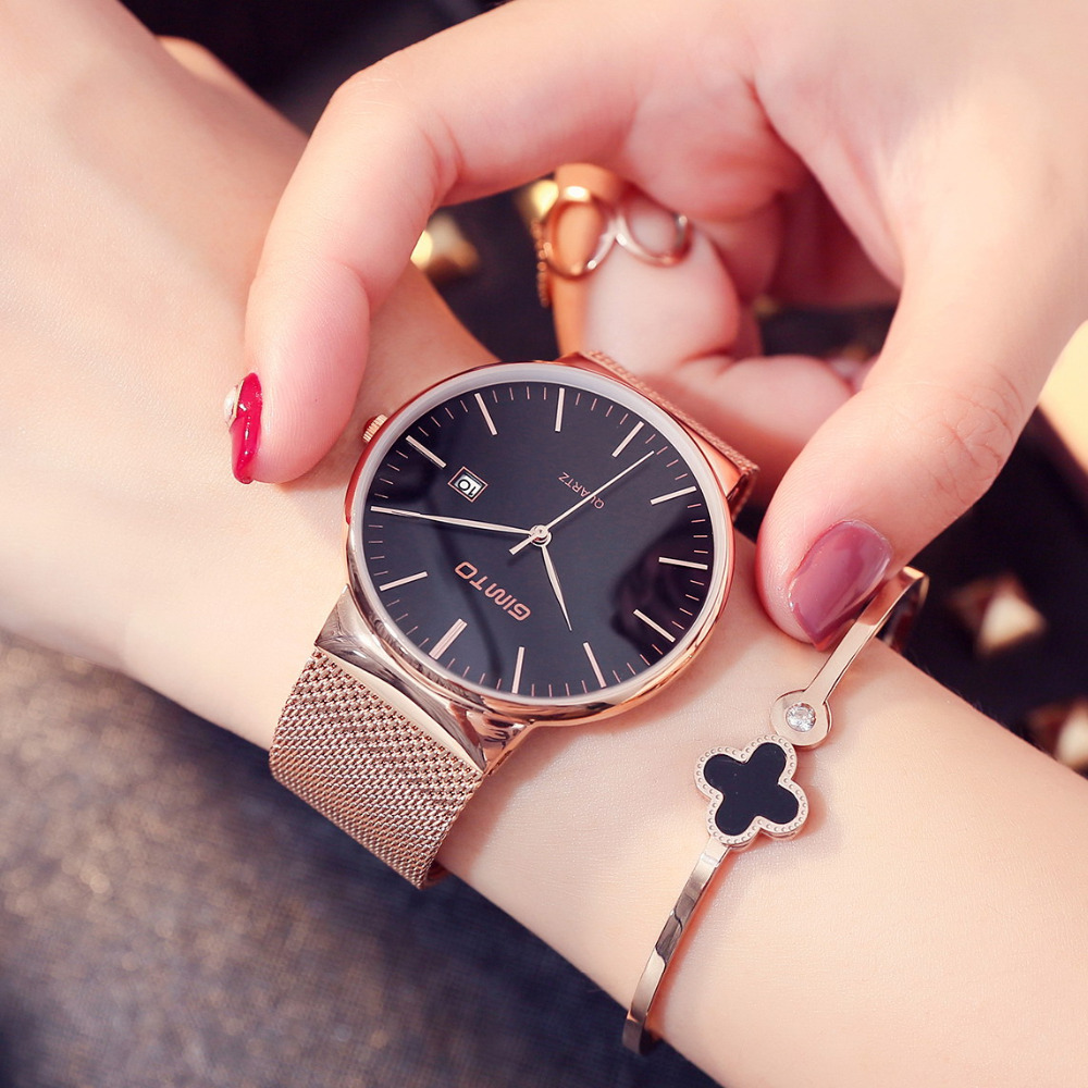GIMTO Brand Luxury Gold Women Watches Steel Quartz Ladies Rose Bracelet Watch Casual Clock Lovers Girl Simple Wristwatch Relogio gimto big dial gold black skull women watches luxury brand steel male female clock vintage ladies lovers watch relogio feminino