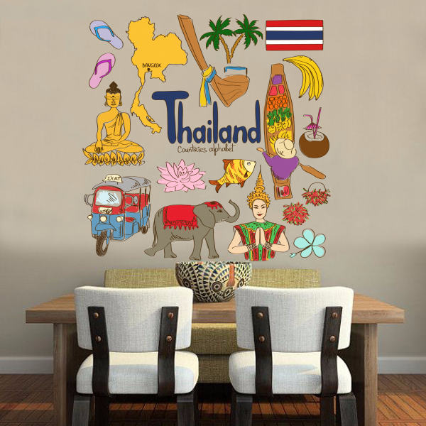 Thajsko barevné ilustrace cestování slovo mezník zeď nálepka svatební výzdoba vinyl vodotěsné zdi nálepka tapety obtisk