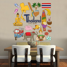 цены Thailand Colorful Illustration Travel The Word Landmark Wall Sticker Wedding Decor Vinyl Waterproof Wall Sticker Wallpaper Decal