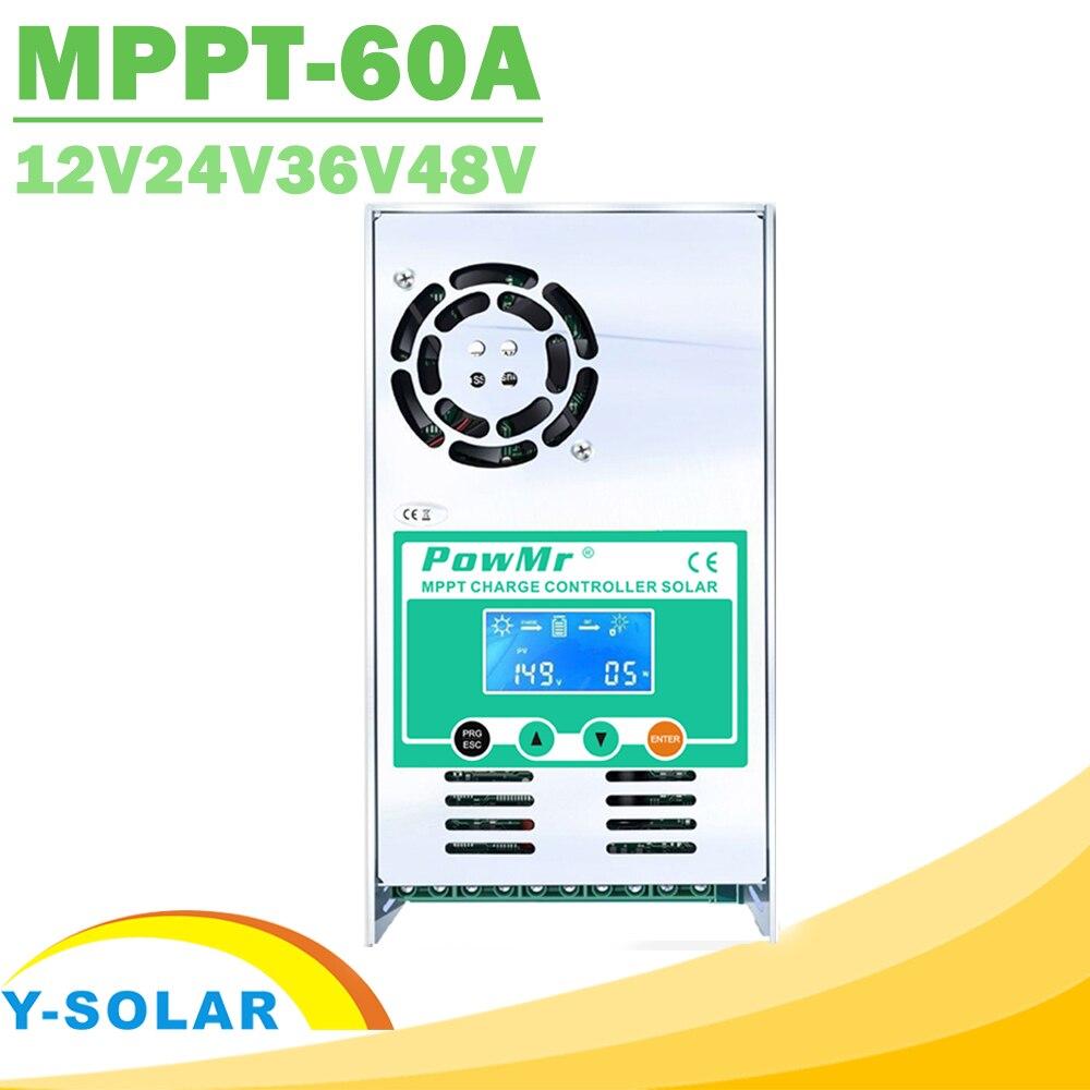 PowMr MPPT 60A LCD Display Solar Charge Controller 12V 24V 36V 48V Auto Solar Panel Battery