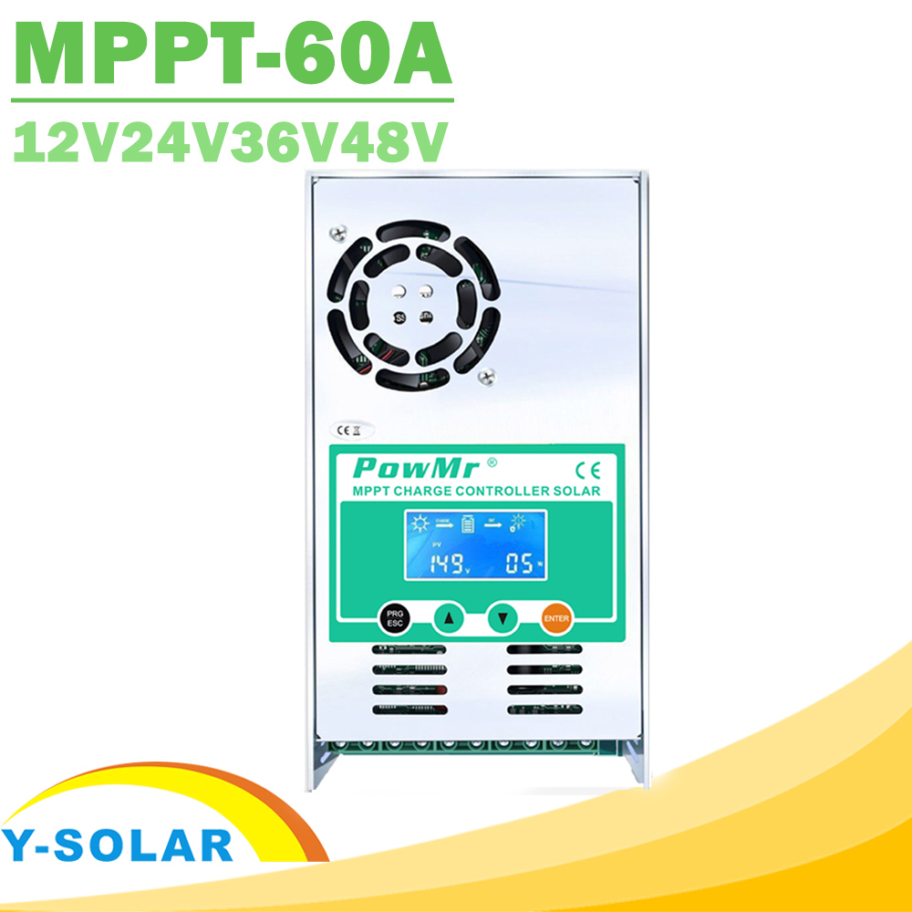 PowMr MPPT 60A LCD Display Solar Charge Controller 12V 24V 36V 48V Auto Solar Panel Battery Charge Regulator for Max190VDC Input maylar 30a pwm solar panel charge controller 12v 24v auto battery regulator with lcd display