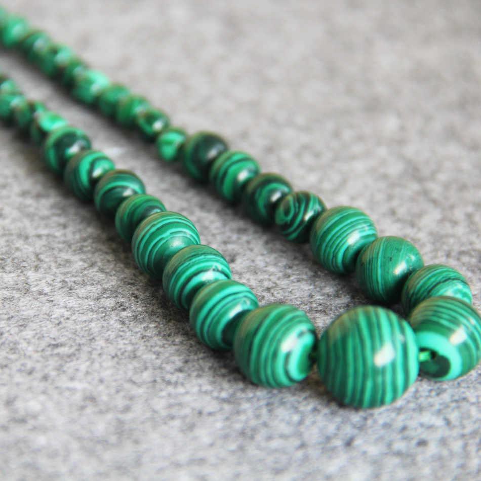 6-14 мм натуральный Зеленый Турция малахитовое ожерелье для женщин и девочек Бусины Из Камня 18 дюймов для изготовления ювелирных изделий, дизайн на День Матери подарки оптом