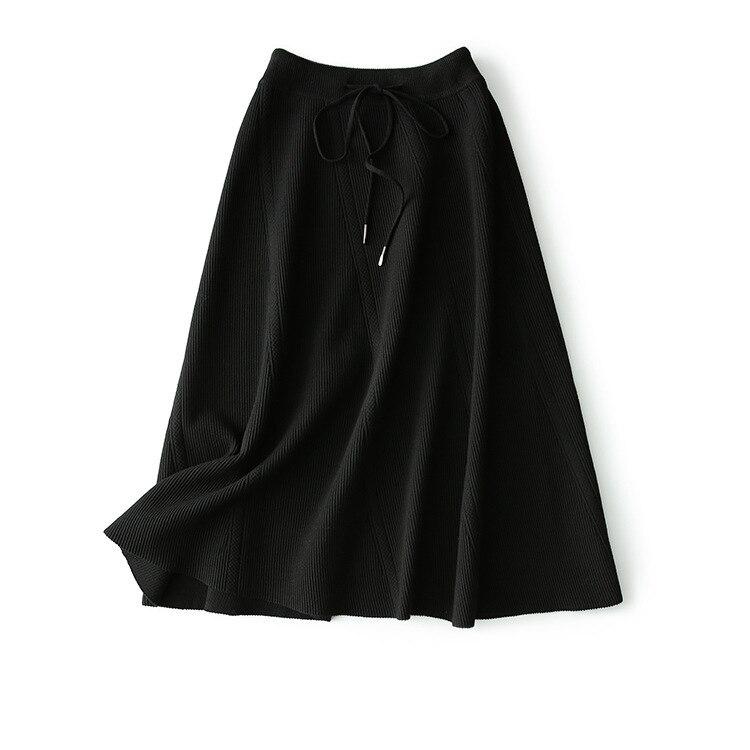 Invierno Faldas Falda Otoño De Gruesas Rejilla marrón Palabra Nuevo Beige Tejer Punto 2018 gris Mujer Cintura invierno Alta Costura Una Con Para negro xfnwqp8g0I