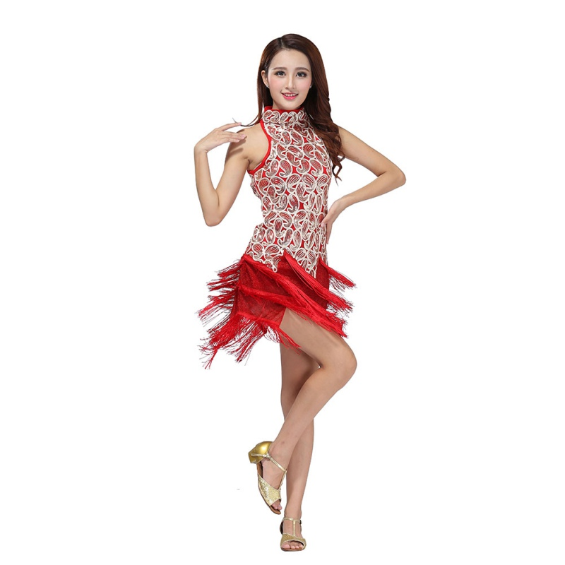 Fringes Tassels Dresses Sequin Latin Tango Samba Ballroom Salsa Dance Dress