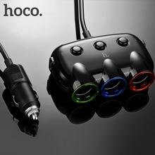 HOCO ХОКО C1 Три в одном автомобильное зарядное устройство в прикурку двойной порт USB двойной ЮСБ для iPhone iPad Samsung автомобильный тройник адаптер в прикуриватель 3.1A переходник usb в авто зарядка для телефона