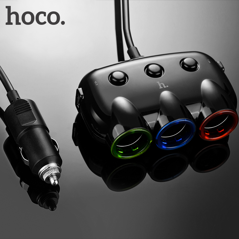 HOCO Trois en Un Chargeur De Voiture Double USB Port Double pour iPhone iPad Samsung Xiaomi Téléphone Tee Adaptateur 2 USB 3.1A De Voiture-chargeur