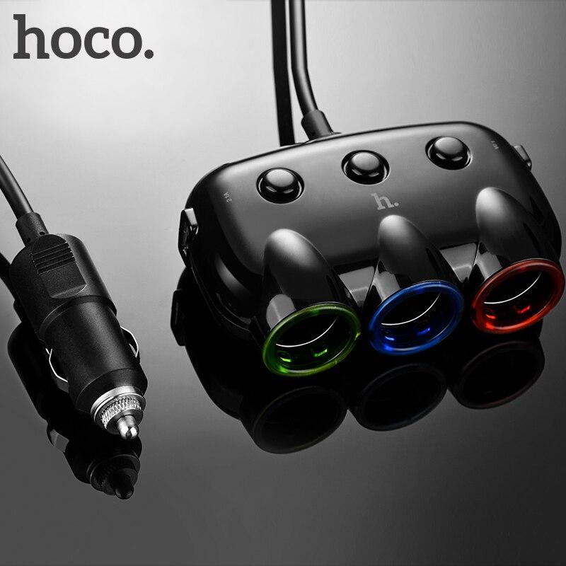 HOCO tres en un cargador de coche doble puerto USB Dual para iPhone iPad Samsung Xiaomi teléfono Tee Adaptador 2 USB 3.1A cargador
