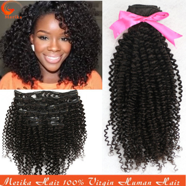 African American Clip In Human Hair Extensions 100gset Natural