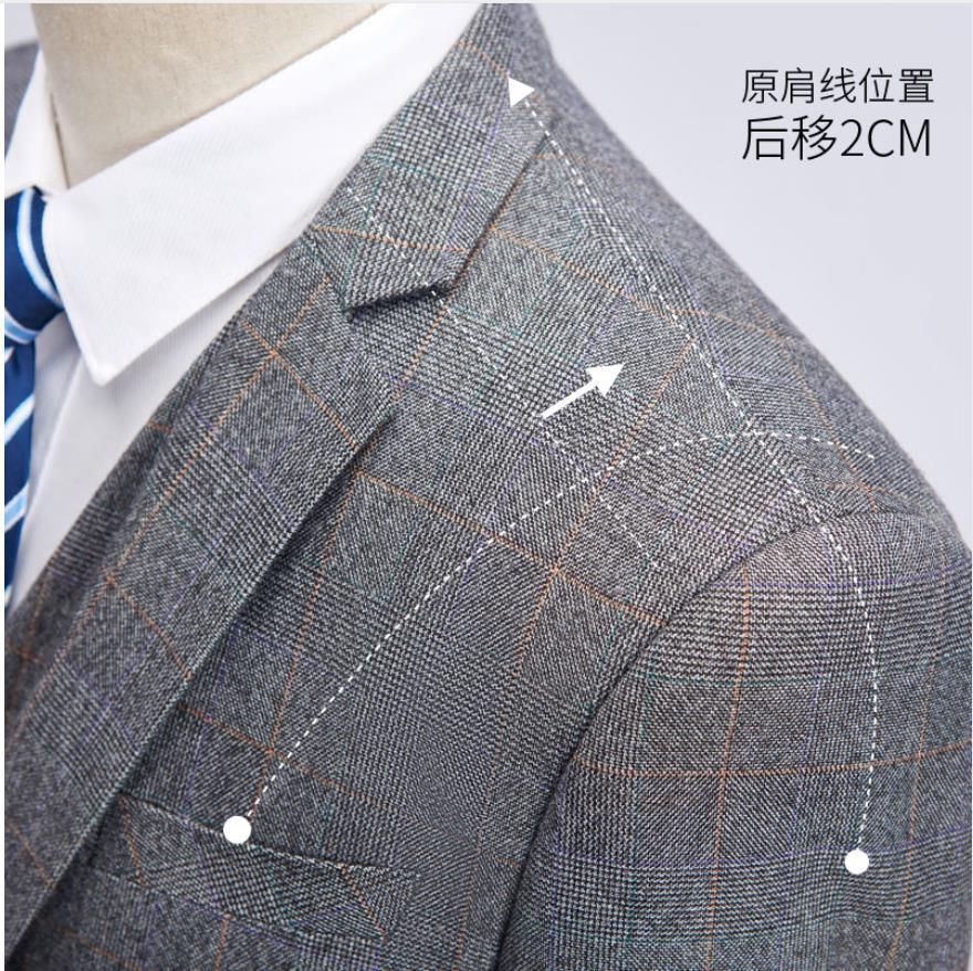Erkek Kıyafeti'ten T. Elbise'de (Ceket + Yelek + Pantolon) 2019 Yeni Stil Ceket Erkekler Moda Takım Elbise erkek Slim Fit İş Düğün Suit erkekler Düğün Ekose Takım Elbise'da  Grup 3