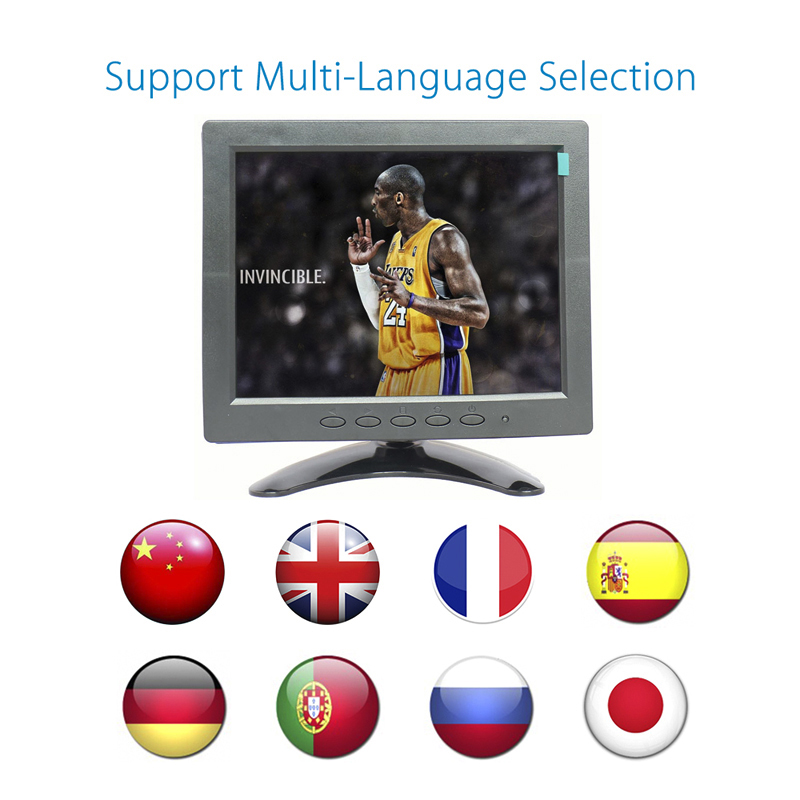 Desktop 8 inch monitor 4:3 camera monitor cctv mini monitor 1024*768 cheap small monitor with av/bnc/vga/hdmi/usb interface 8 4 8 inch industrial control lcd monitor vga dvi interface metal shell open frame non touch screen 800 600 4 3