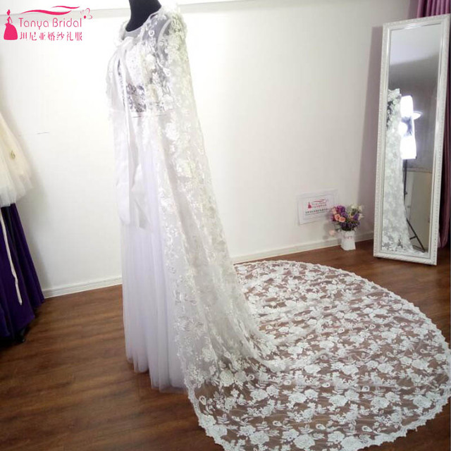 faf4fcc0e8 US $66.0 |Aliexpress.com : Buy Long Lace elegant wedding Wraps Lace cloak  wedding bolero winter wedding coat bridal jacket ivory lace boleros Z526 ...