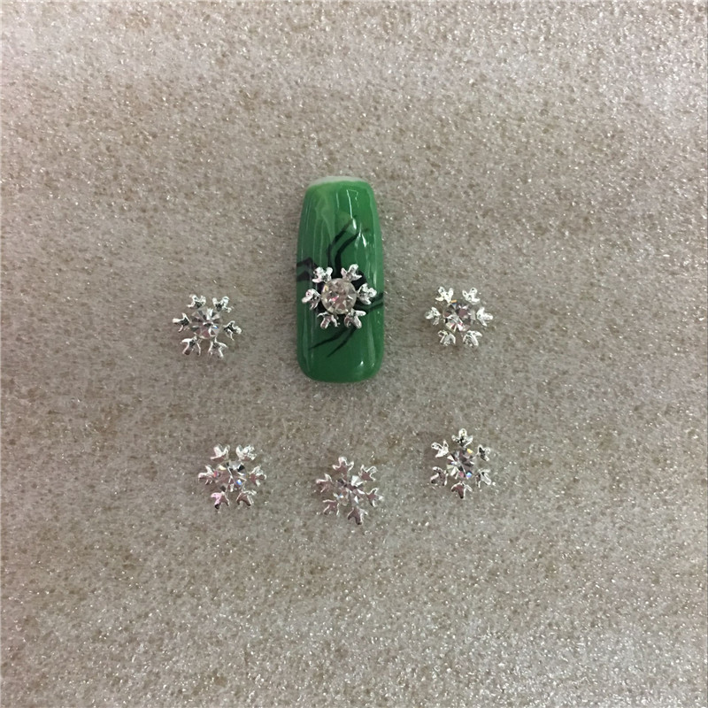 10 Pcs bag 3D Manicure Pearl Silver Alloy Jewelry Nail Art Decor Diamond Stickers Crystal Glue In The Nail New Fashion ToolsNO78 in Rhinestones Decorations from Beauty Health