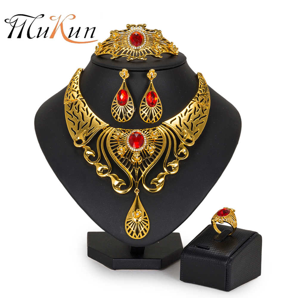MUKUN Fashion women jewelry set Nigeria Wedding bridal jewelry sets Dubai Gold Color big Necklace set african beads jewelry set