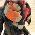 Free Shipping Faux Cashmere Ladies Scarves 2014 Tassel Shawl Woman Winter Scarf Female Fashion Multicolour Stripe Warm Scarf BKW