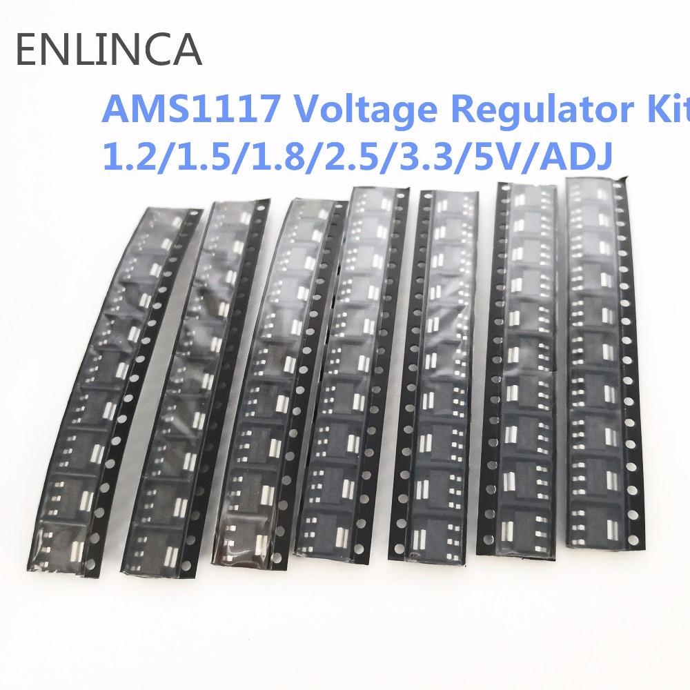 70pcs Kit Voltage Regulator Kit AMS1117 1.2V/1.5V/1.8V/2.5V/3.3V/5.0V/ADJ Lm1117 AMS1117-1.2 AMS1117-1.8 AMS1117-2.5 AMS1117-3.3