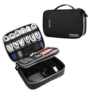 Image 2 - Accesorios electrónicos de doble capa espesar bolsa organizadora de Cables Estuche portátil para discos duros, Cables, carga, Kindle, iPad mini