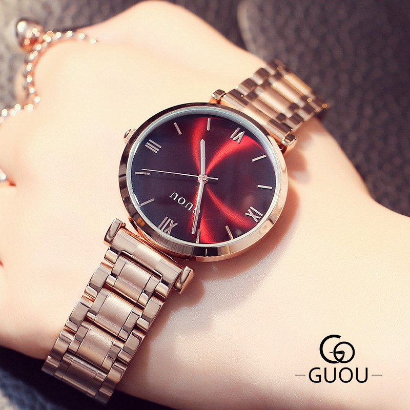GUOU Rose Gold Watch Women Steel Quartz Bracelet Watches Ladies Waterproof Luxury Wristwatch Hodinky Ceasuri Relojes femininoGUOU Rose Gold Watch Women Steel Quartz Bracelet Watches Ladies Waterproof Luxury Wristwatch Hodinky Ceasuri Relojes feminino