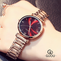 GUOU Rose Gold Watch Women Steel Quartz Bracelet Watches Ladies Waterproof Luxury Wristwatch Hodinky Ceasuri Relojes