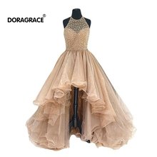 Doragrace Glamorous High/Low Organza Beaded Evening Party Dresses Prom Gowns Plus Size
