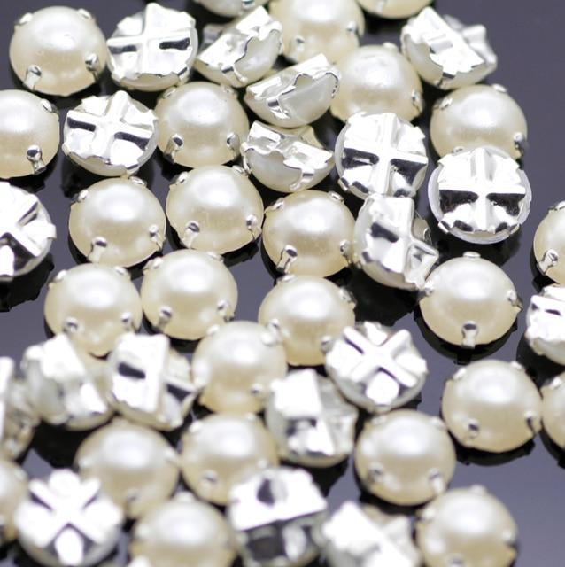 7mm 100pcs lot Silver Plating pearl Color Rhinestone Beads 95bddd83382a