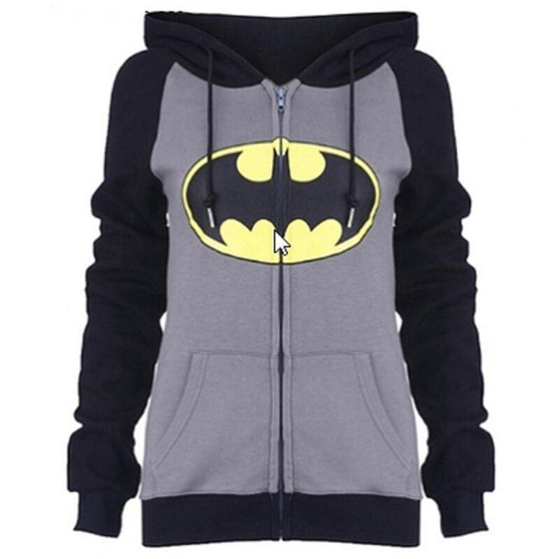 2017 New Men Women Casual Classical Design Bat man Hooded Hoodies Zip Up Winter Fleece Super Warm Superhero Sweatshirts Coat Top