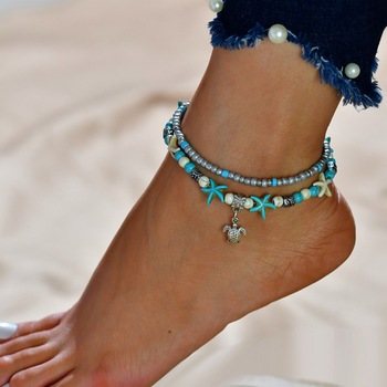 Bilincolor fashion blue sea beach charms women turtle ankle bracelet image