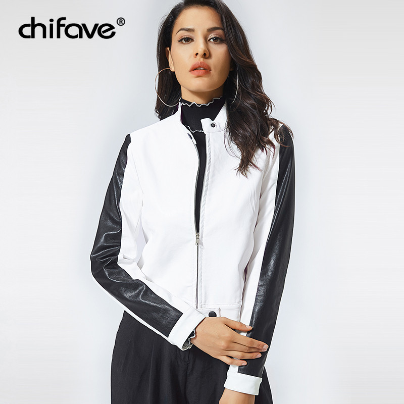 Fashion Motorcycle Pu   Leather   Jacket Women Long Sleeve Basic Coat Casual White Slim Outerwear Plus Size Short Jackets chifave
