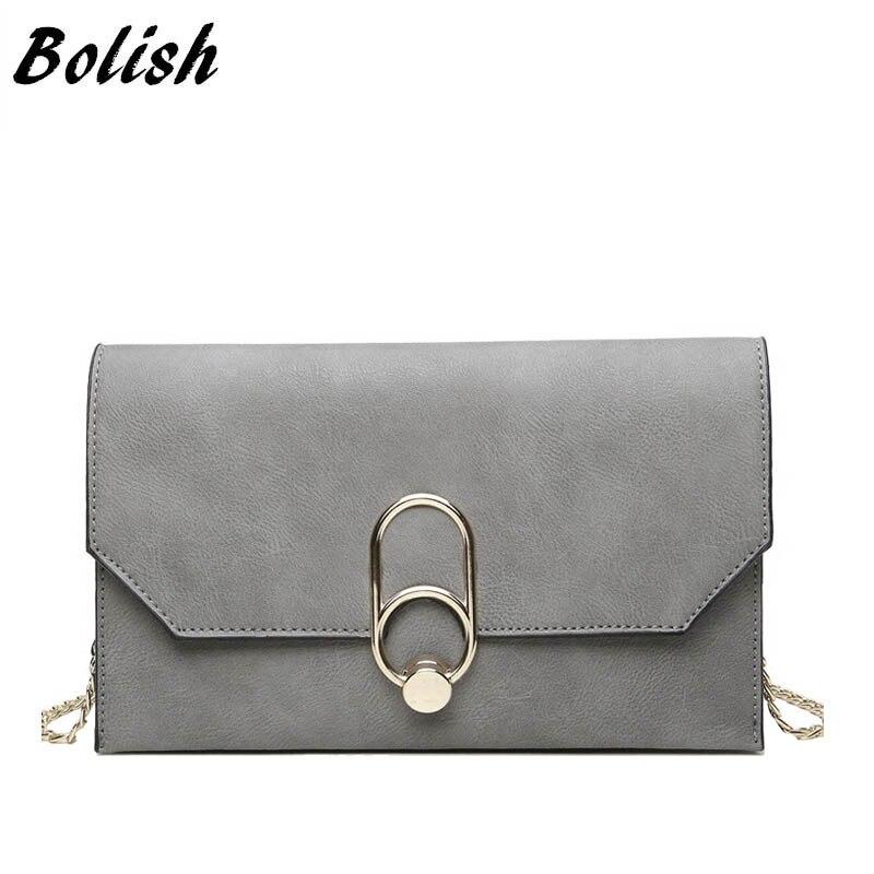 Bolish 브랜드 Nubuck 가죽 여성용 가방 패션 잠금 체인 숄더 백 크로스 바디 백 대형 데이 클러치