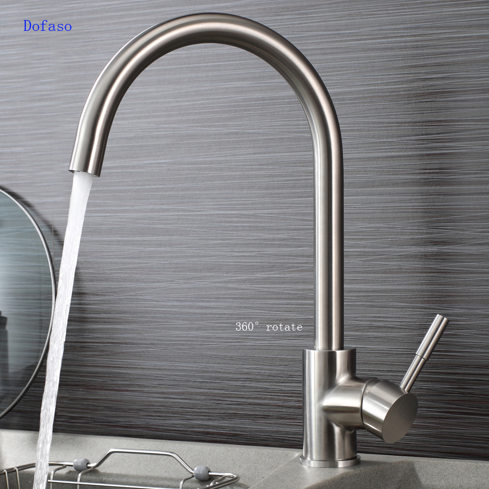 Dofaso Brushed 304 Stainless Steel Kitchen Faucet Cold And Hot Cook House Water Taps Drawing Bright Kitchen Sink Faucet Mixer