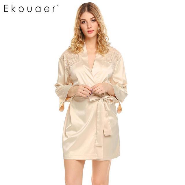 9e86920020319c Sleepweear Ekouaer Mulheres Kimono Robe Roupão De Cetim Com Decote Em V 3/4  Sleeve Lace Patchwork Elegante Casa de Banho Spa Roupa Dormir Roupas