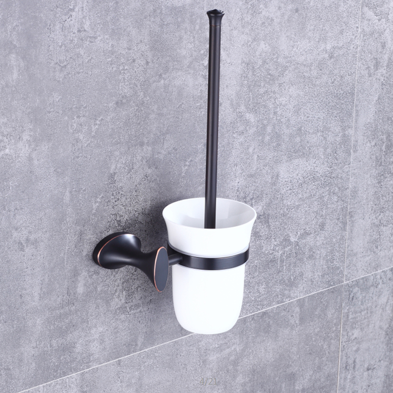Poiqihy Solid Br Orb Oil Rubbed Bronze Toilet Brush Holder Ceramic Cup Bathroom Accessories Wall Mounted Set In Holders From