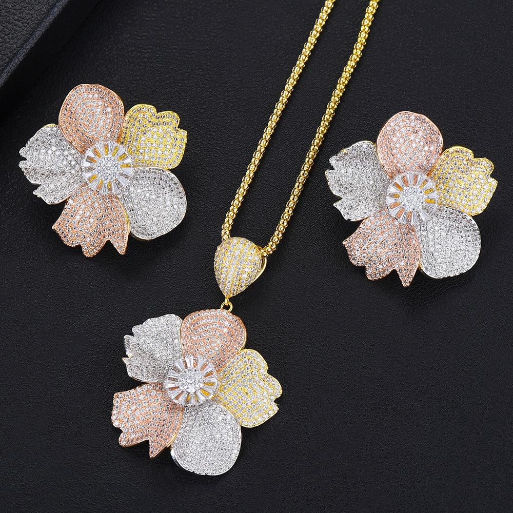 GODKI Luxury Exclusive 3 Tone Flower Luxury Women Wedding Naija Bridal Cubic Zirconia Necklace Earring Dubai