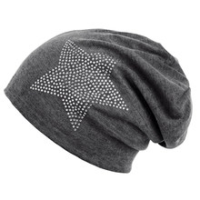 Unisex hombres mujeres clásico estrella rhinestone slouch Beanie Cap algodón  sombrero gris oscuro(China) bd426c2813e
