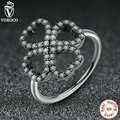 2016 New Rings 925 Sterling Silver 3 Size Clover with Crystals Ancient Silver Ring Compatible With VRC Fashion Jewelry A7175