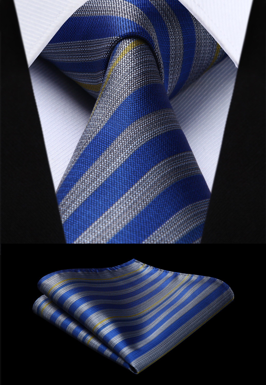 Woven Men Tie Blue Gray Striped  Necktie Handkerchief Set#TS722B8S Party Wedding Classic Fashion Pocket Square Tie