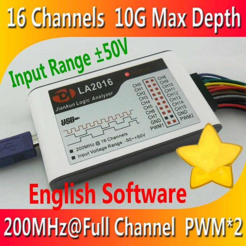 LA2016 Kingst USB Logic Analyzer 200 m Taxa de Amostragem MÁXIMA 16 Canais 10B Amostras 2 PWM Fora Osciloscópios