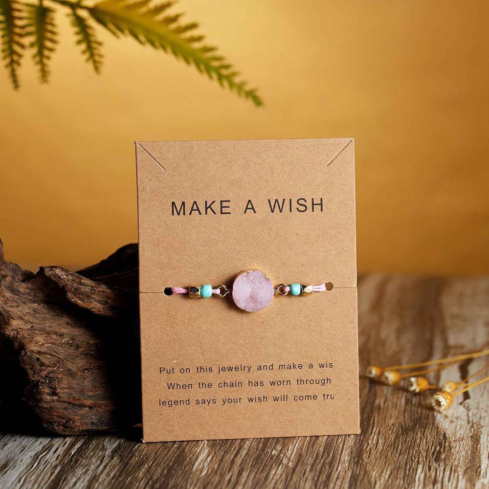 Натуральный камень Новая 7 цветная подвеска тканый браслет с картой Загадай желание регулируемый браслет из веревки для женщин очаровательные подарочные украшения - Окраска металла: 3