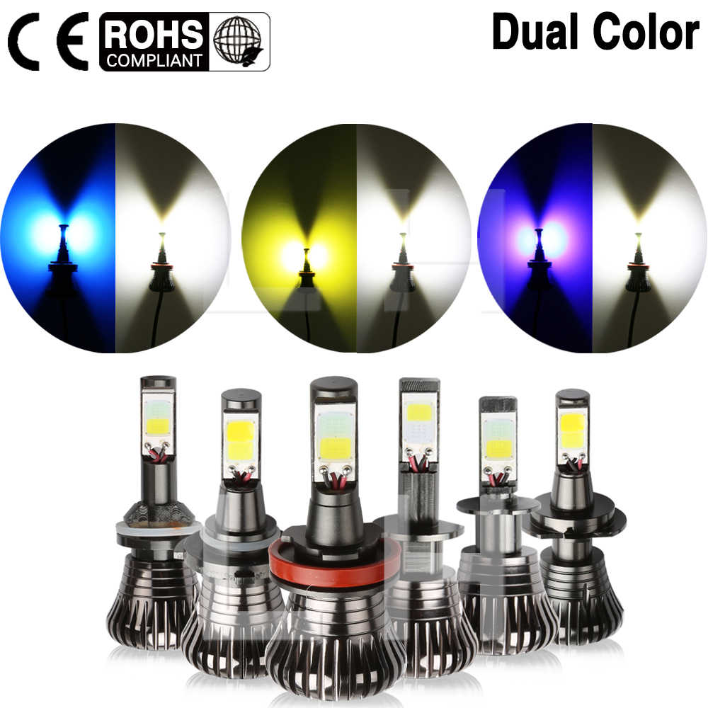 Car Turn DRL Light Lamp Super Bright LED Fog Tail  Bulbs H1 H3 H7 H11 H8 H9 HB3 HB4 9005 9006 880 881 White Ice Blue Dual Color