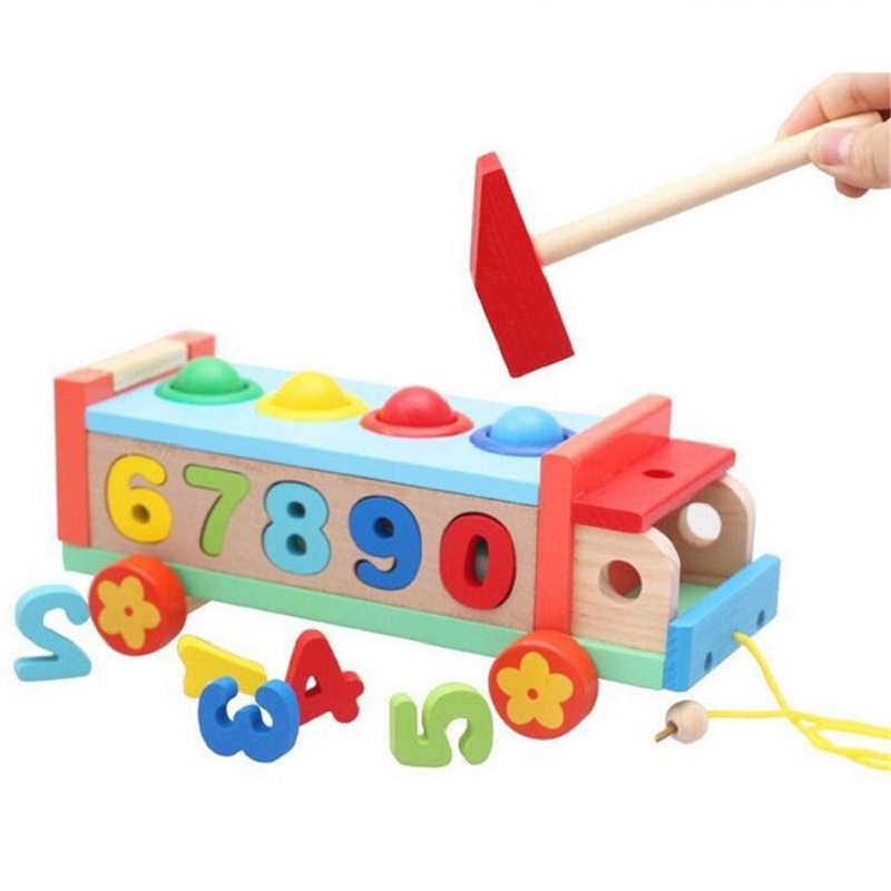 SUKIToy Wooden Bus Toy With Number/Ball/hamer Kid's Soft Montessori Blocks Set Classic toys high quality simulation mini golf course display toy set with golf club ball flag
