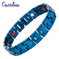 2015 4in1 Men Magnetic Negative Ions Germanium Far Infar Red Stainless Bracelet Shiny Blue Bangle Free