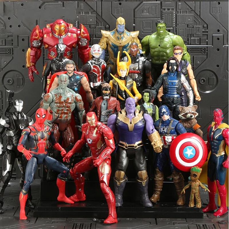 1-21 Pcs Avengers Marvel Super Heroes Figures Toys ron Man Captain America Hulk Thanos Spiderman Thor Vision Winter Soldier