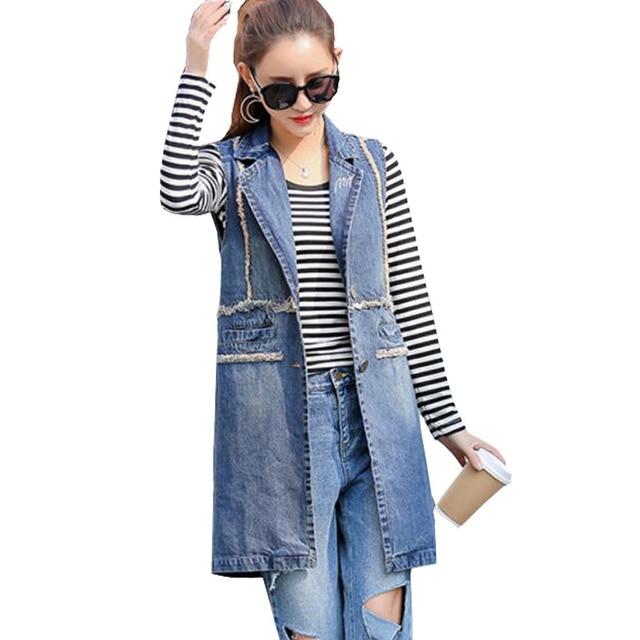 Plus Size S-4XL Boyfriend Style Plus Size Sleeveless Jacket Summer Long  Denim Vest Women