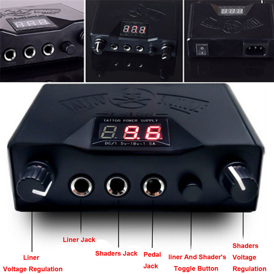 Haicar Professional Tattoo LCD Digital Dual Power Supply Permanent Makeup Tool Plug 180327 Drop Shipping